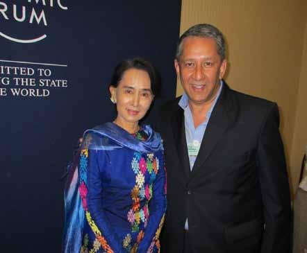 Ranjit Barthakur with Aung San Suu Kyi at the World Economic Forum
