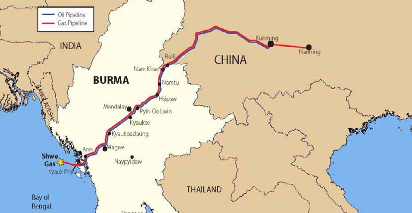 Shwe Gas Movement: The proposed pipelines will bring Middle Eastern oil and gas to China through Myanmar. | source : arakanoilwatch.org