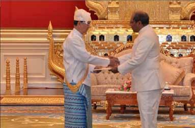 The presentation of Ambassador Gautam Mukhopadhaya credentials to H.E. the President of Myanmar, U Thein Sein on June 21, 2013.