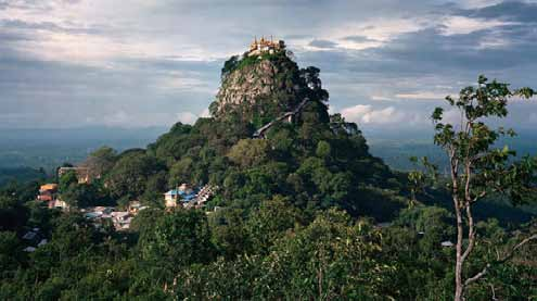 The picturesque Popa Taungkalat Buddhist monastery sits atop an outcrop of Mount Popa, an active volcano southeast of Bagan in central Myanmar. photo: richard mosse