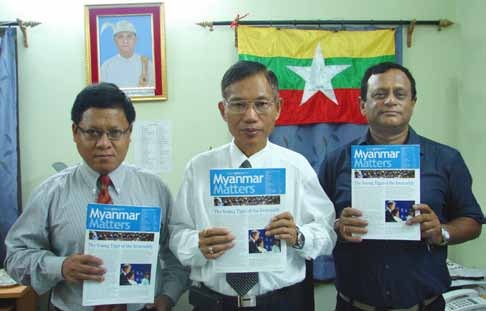 Launch of Myanmar Matters through Mr Kyaw Thu,Vice (Consul and Deputy Chief of the Mission), Mr Kyaw Swe Tint (Consul General) and Mr. Prabudha Barua (GMS) at the Myanmar Embassy in Kolkata