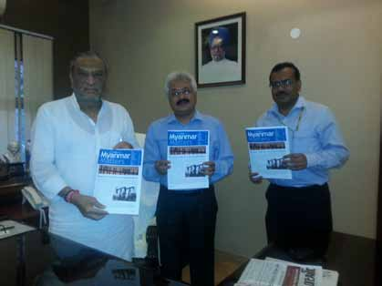 "Launch of ""Myanmar Matters"" through Mr. Dinsha J Patel (Minister of Mines, GoI), Mr. Puneet Kansal, IAS (PS to the Minister) and Mr. Kamal Nain Pandya (CEO, Globally Managed Services) at Ministry of Mines, Delhi."
