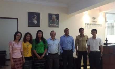Tata International Myanmar Team at the TIL office in Myanmar (From Left To Right) – Ms. Hnin Hnin, Ms. Anna, Ms. Yin Mar, Mr. Sunil Seth, Mr. Sanjay Jain, Mr. Kyaw Soe And Mr. Yar Zar Lin