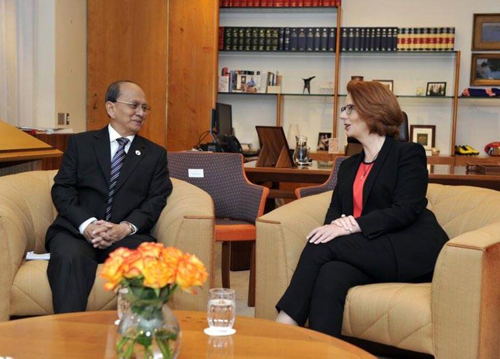 Myanmar President Thein Sein meets with Australia's Prime Minister Julia Gillard Photo: Julia Gillard via Twitter