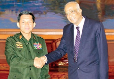 File photo of Commander-in-Chief of Defence Services Vice-Senior General Min Aung Hlaing meeting the then - Indian Ambassador to Myanmar, V. S. Seshadri | Photo: www.thazinnew.blogspot.in