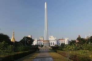 STONE PILLAR OF INDEPENDENCE IN YANGON