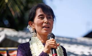AUNG SAN SUU KYI ADDRESSING A RALLY IN MYANMAR