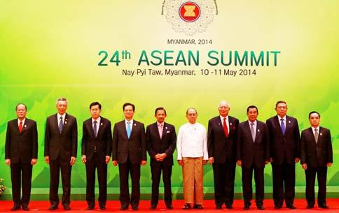 ASEAN LEADERS LEAVE AFTER TAKING A GROUP PICTURE DURING THE OPENING CEREMONY OF THE 24TH ASEAN SUMMIT IN NAYPYIDAW