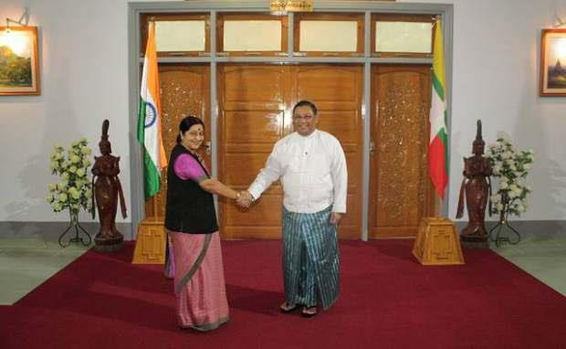 EXTERNAL AFFAIRS MINISTER OF INDIA SMT SUSHMA SWARAJ WITH FOREIGN AFFAIRS MINISTER U WUNNA MAUNG LWIN(NAYPYITAW,11 AUGUST, 2014)