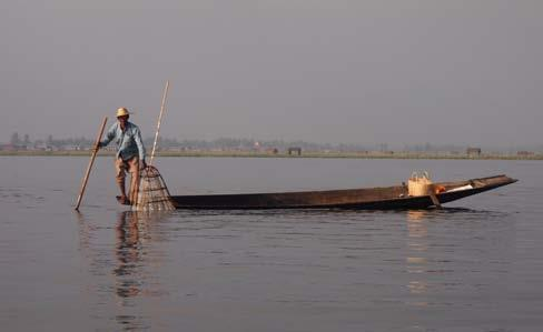 TRADITIONAL FISHING AT INLE LAKE, MYANMAR