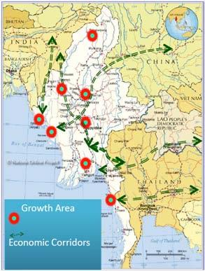 GROWTH AREAS AND ECONOMIC CORRIDORS OF MYANMAR