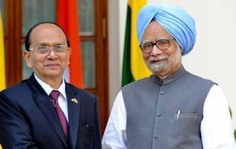 THE MYANMAR PRESIDENT, MR THEIN SEIN, AND THE PRIME MINISTER, DR MANMOHAN SINGH