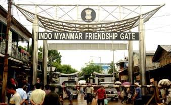 THE INDO-MYANMAR FRIENDSHIP GATE AT MOREH , A BORDER TOWN BETWEEN INDIA AND MYANMAR