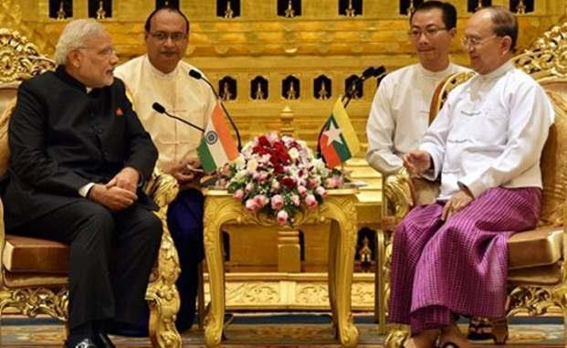 PRIME MINISTER NARENDRA MODI WITH PRESIDENT THEIN SEIN IN MYANMAR