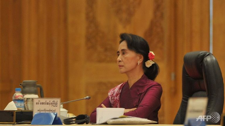 A file picture of Aung San Suu Kyi, chairman of the National League for Democracy (NLD) attending a six party meeting at the president's office in Naypyidaw, Myanmar. (Photo: AFP/Soe Than Win)