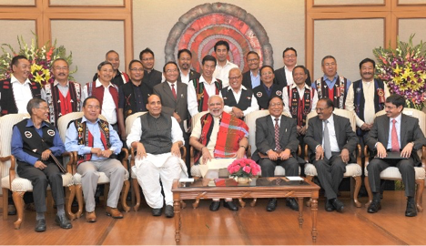 PRIME MINISTER NARENDRA MODI, HOME MINISTER RAJNATH SINGH, NSA AJIT DOVAL, AND FOREIGN SECRETARY SUBRAHMANYAM JAISHANKAR WITH NSCN (IM) CO-FOUNDER THUINGALENG MUIVAH AND OTHER NSCN LEADERS AT THE SIGNING OF THE PEACE ACCORD
