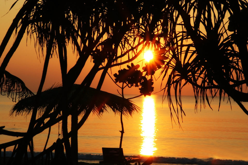 Sunset on Ngwe Saung Beach in Myanmar