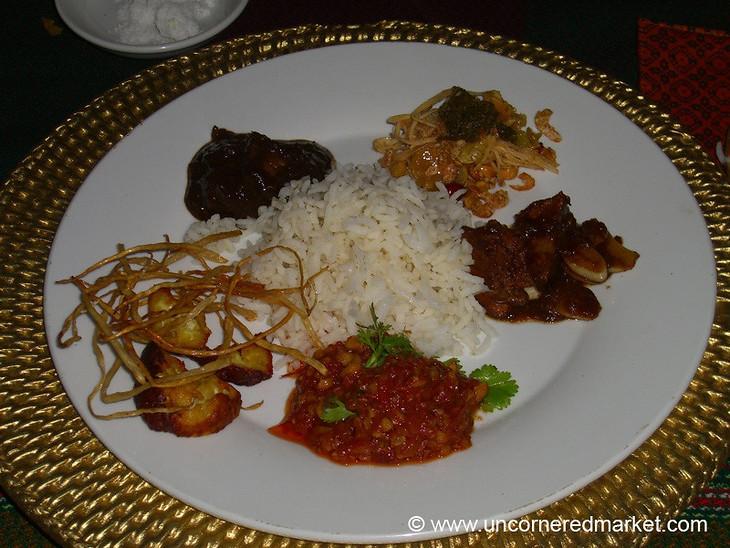 A variety of Burmese dishes at Green Elephant restaurant in Mandalay, Burma (Myanmar).