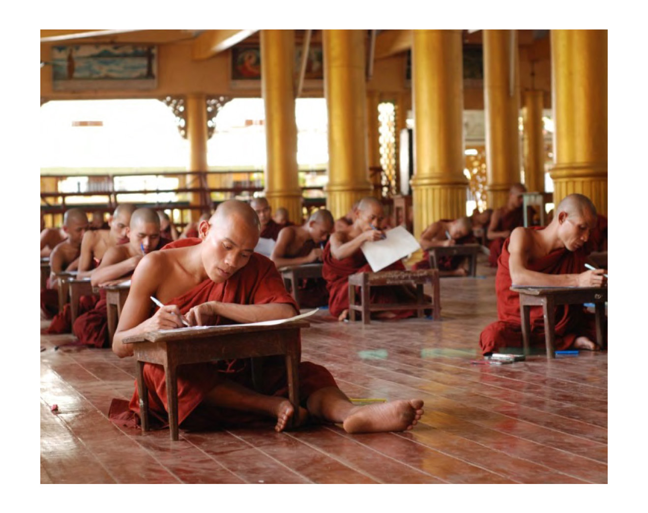 BUDDHIST MONKS PARTICIPATING IN PARIYATTI SASANA EXAMINATIONS