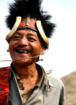 A Chief of Konyak Tribe in his Traditional Outfit